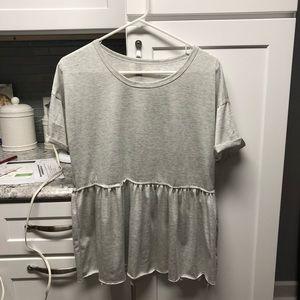 Tops - Cute Light Gray Peplum Top